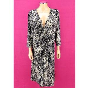 LANE BRYANT ruffle wrap dress leopard print 18/20